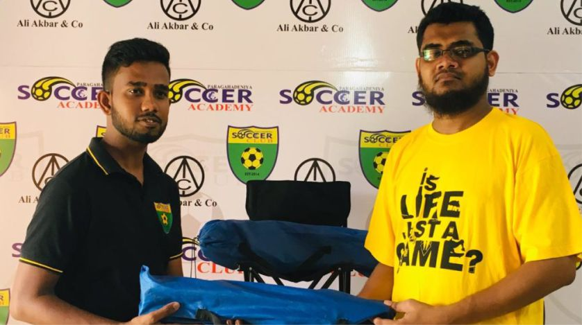 Donating fold-able chairs to Paragahadeniya Soccer Academy